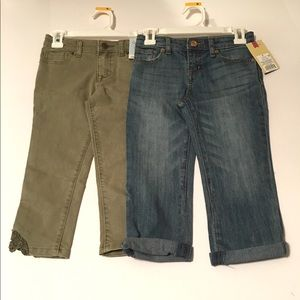 2pc Lot- Girl's Size 5 Jeans Blue Green